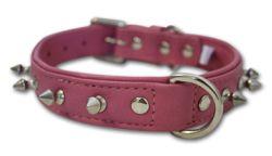 "Angel Pet Supplies - Rotterdam Leather Spiked Single-Line Dog Collar - Bubblegum Pink - 18"" X 3/4"""