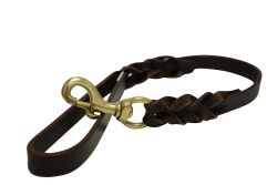 Angel Pet Supplies - Braided Leather Leash - Brown - 2' X 3/4""