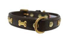 "Angel Pet Supplies - Rotterdam Leather ""Bones"" Dog Collar - Chocolate Brown - 14"" X 3/4"""