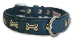 "Angel Pet Supplies - Rotterdam Leather ""Bones"" Dog Collar - Ocean Blue - 14"" X 3/4"""