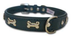 "Angel Pet Supplies - Rotterdam Leather ""Bones"" Dog Collar - Ocean Blue - 16"" X 3/4"""