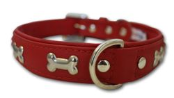 "Angel Pet Supplies - Rotterdam Leather ""Bones"" Dog Collar - Valentine Red - 18"" X 3/4"""