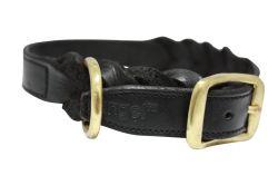"Angel Pet Supplies - Braided  Leather  Dog Collar - Black - 22"" X 1"""