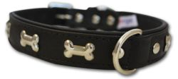 "Angel Pet Supplies - Rotterdam Leather ""Bones"" Dog Collar - Midnight Black - 22"" X 1"""