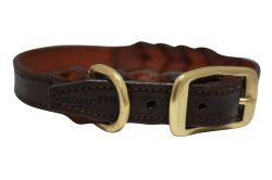 "Angel Pet Supplies - Braided  Leather  Dog Collar - Brown - 18"" X 3/4"""