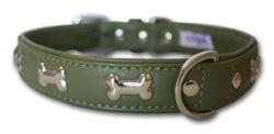 "Angel Pet Supplies - Rotterdam Leather ""Bones"" Dog Collar - Olive Green - 22"" X 1"""