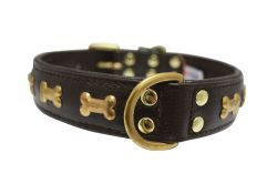 "Angel Pet Supplies - Rotterdam Leather ""Bones"" Dog Collar - Chocolate Brown - 24"" X 1.25"""