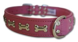 "Angel Pet Supplies - Rotterdam Leather ""Bones"" Dog Collar - Bubblegum Pink - 24"" X 1.25"""