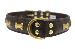 "Angel Pet Supplies - Rotterdam Leather ""Bones"" Dog Collar - Chocolate Brown - 26"" X 1.25"""