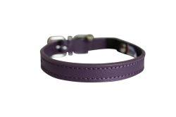 "Angel Pet Supplies - Alpine Leather Elastic Break-Away Cat Collar - Orchid Purple - 12"" X1/2"""