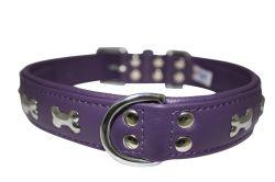 "Angel Pet Supplies - Rotterdam Leather ""Bones"" Dog Collar - Orchid Purple - 26"" X 1.25"""