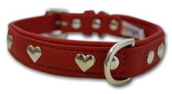 "Angel Pet Supplies - Rotterdam Leather ""Hearts"" Dog Collar - Valentine Red - 16"" X 3/4"""