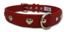 "Angel Pet Supplies - Rotterdam Leather ""Hearts"" Dog Collar - Valentine Red - 18"" X 3/4"""