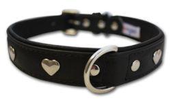 "Angel Pet Supplies - Rotterdam Leather ""Hearts"" Dog Collar - Midnight Black - 22"" X 1"""