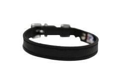 "Angel Pet Supplies - Alpine Leather Elastic Break-Away Cat Collar - Midnight Black - 10"" X 1/2"""
