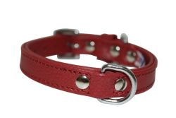 "Angel Pet Supplies - Alpine Leather Padded Dog Collar - Valentine Red - 12"" X 5/8"""