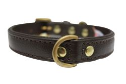 "Angel Pet Supplies - Alpine Leather Padded Dog Collar - Chocolate Brown - 14"" X 3/4"""