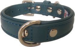 "Angel Pet Supplies - Alpine Leather Padded Dog Collar - Ocean Blue - 14"" X 3/4"""