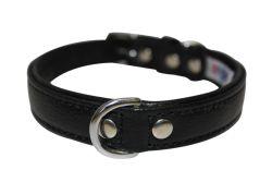 "Angel Pet Supplies - Alpine Leather Padded Dog Collar - Midnight Black - 18"" X 3/4"""