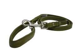 """Angel Pet Supplies - Alpine Leather Padded Handle Leash - Olive Green - 48"""" X 1/2"""""""