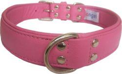 "Angel Pet Supplies - Alpine Leather Padded Dog Collar - Bubblegum Pink - 24"" X 1.25"""