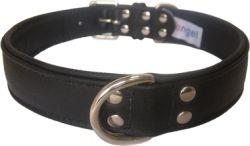 "Angel Pet Supplies - Alpine Leather Padded Dog Collar - Midnight Black - 26"" X 1.25"""
