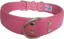 "Angel Pet Supplies - Alpine Leather Padded Dog Collar - Bubblegum Pink - 26"" X 1.25"""