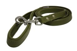 "Angel Pet Supplies - Alpine Leather Padded Handle Leash - Olive Green - 72"" X 3/4"""