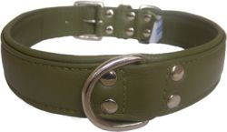 "Angel Pet Supplies - Alpine Leather Padded Dog Collar - Olive Green - 26"" X 1.25"""