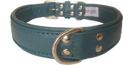 "Angel Pet Supplies - Alpine Leather Padded Dog Collar - Ocean Blue - 26"" X 1.25"""