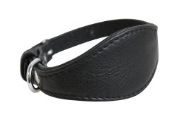 "Angel Pet Supplies - Leather Padded Hound Dog Collar - Midnight Black - 12"" X 1.75"""