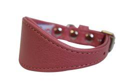 "Angel Pet Supplies - Leather Padded Hound Dog Collar - Bubblegum Pink - 12"" X 1.75"""