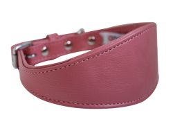 "Angel Pet Supplies - Leather Padded Hound Dog Collar - Bubblegum Pink - 18.25"" X 2"""