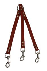 """Angel Pet Supplies - 3 Dog Leather Couplers - Valentine Red - 10"""" X 3/4"""""""