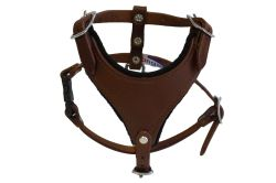Angel Pet Supplies - Malibu Classic Leather Dog Harness - Chocolate Brown - Extra Small