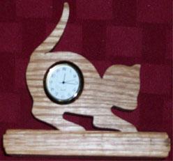 Fine Crafts - Wooden Cat Mini Desk Clock