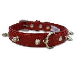"""Angel Pet Supplies - Rotterdam Leather Spiked Single-Line Dog Collar - Valentine Red - 18"""" X 3/4"""""""