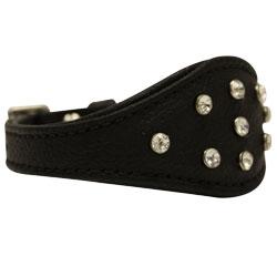 "Angel Pet Supplies - Leather Rhinestone Bling Hound Dog Collar - Midnight Black - 12"" X 1.75"""