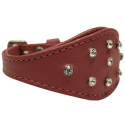 "Angel Pet Supplies - Leather Rhinestone Bling Hound Dog Collar -  Bubblegum Pink - 12"" X 1.75"""