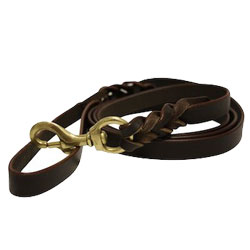"""Angel Pet Supplies - Braided Leather Leash - Brown - 4' X 3/4"""""""