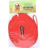 Coastal Pet Products - Train Right! Cotton Web Training Leash - Red - 30 Foot