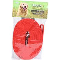 Coastal Pet Products - Train Right! Cotton Web Training Leash - Red - 20 Foot