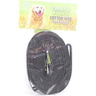 Coastal Pet Products - Train Right! Cotton Web Training Leash - Black - 15 Foot
