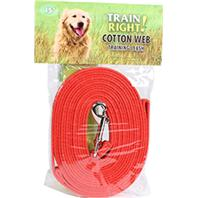 Coastal Pet Products - Train Right! Cotton Web Training Leash - Red - 15 Foot
