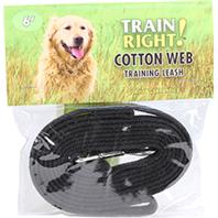 Coastal Pet Products - Train Right! Cotton Web Training Leash - Black - 6 Foot