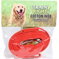 Coastal Pet Products - Train Right! Cotton Web Training Leash - Red - 6 Foot