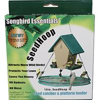 Songbird Essentials - Seed Hoop Seed Catcher & Platform Feeder - Green - 16 Inch