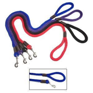 "Purple Pebble - Leedz Snap End Leash - Blue - 6' x 5/8"" Diameter"