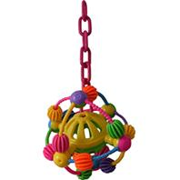 A&E Cage Company - Happy Beaks Space Ball On A Chain Bird Toy - Assorted - 7 X 14 Inch