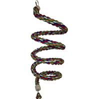 A&E Cage Company - Happy Beaks Cotton Rope Boing with Bell Bird Toy - Multi-Colored - 1.25 x 97 Inch